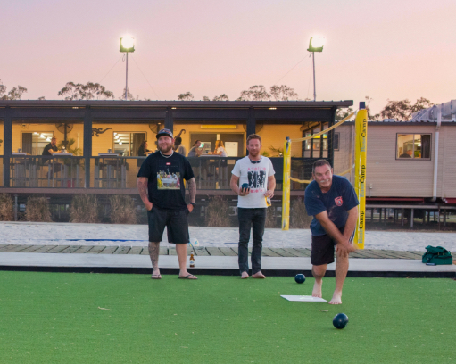 Guests having a game of bowls